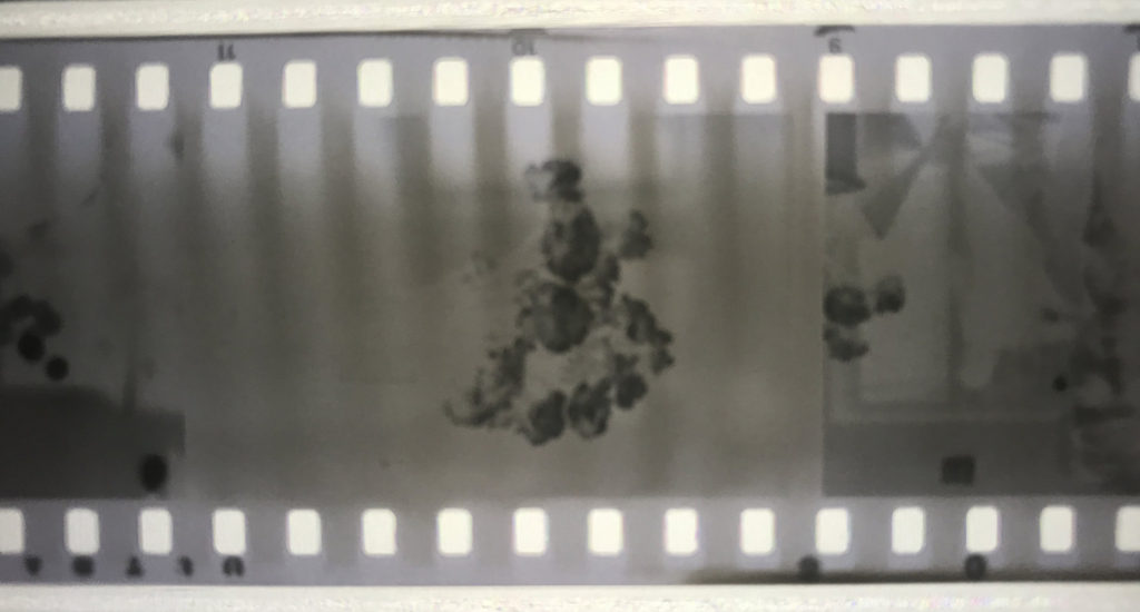 An image with vertical streaks from the sprocket holes.