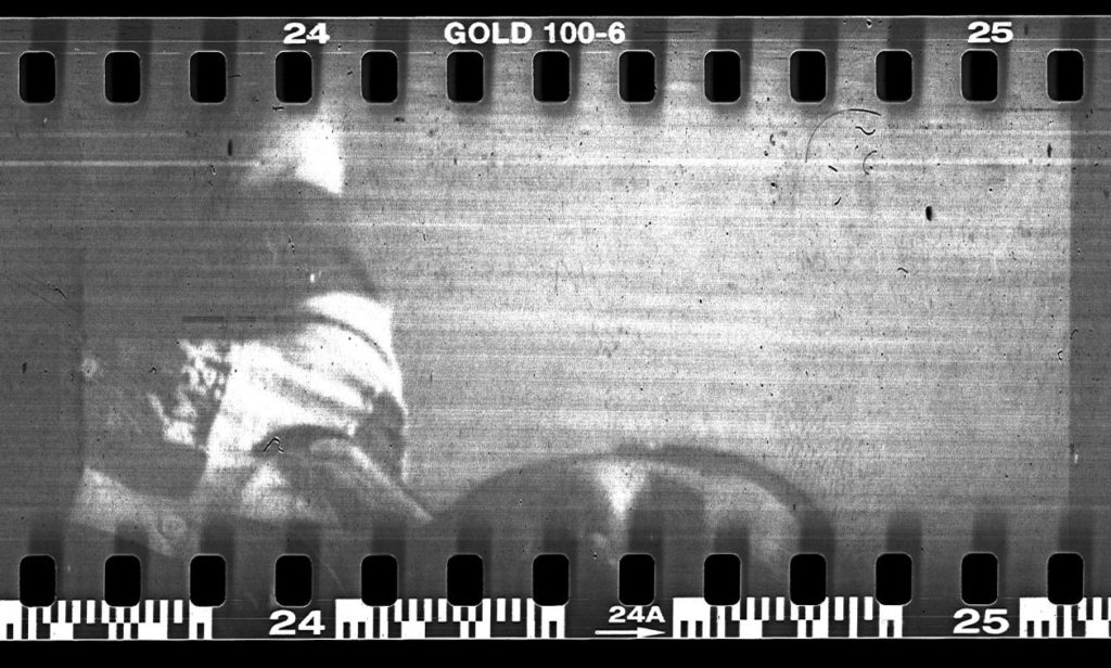 An image with horizontal scratches on the film.