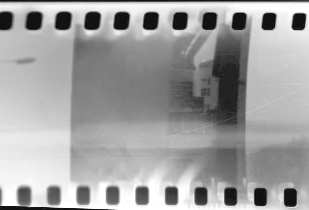 An image from a camera with a light leak.
