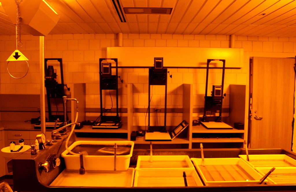 A darkroom with an Amber safelight instead of Red.