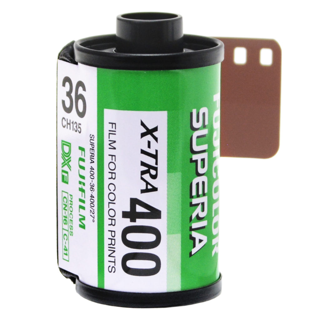 A roll of Fujifilm X-TRA Superia 400 film with 36 exposures