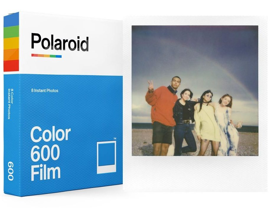 A pack of Polaroid color 600 film.