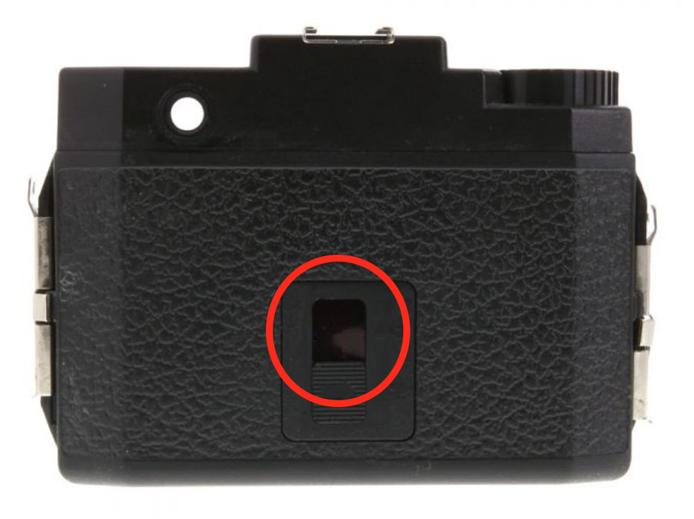 The Back of a Holga Camera where the frame counter is located.