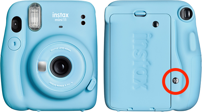 Fujifilm Instax Mini 11 with the film counter highlighted on the back.