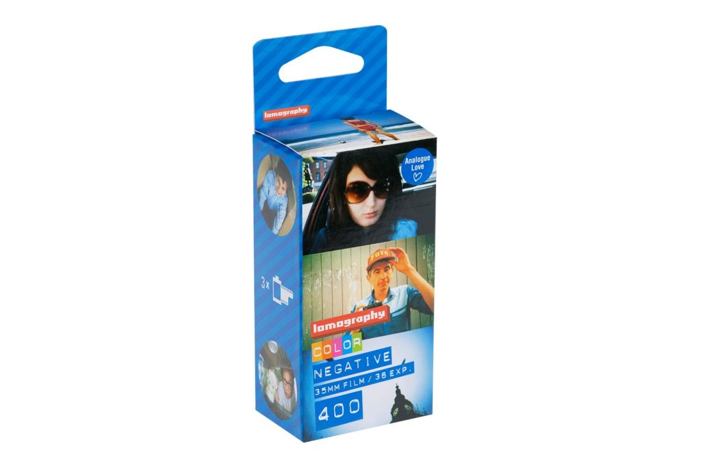 A roll of 35mm color negative film by lomography.