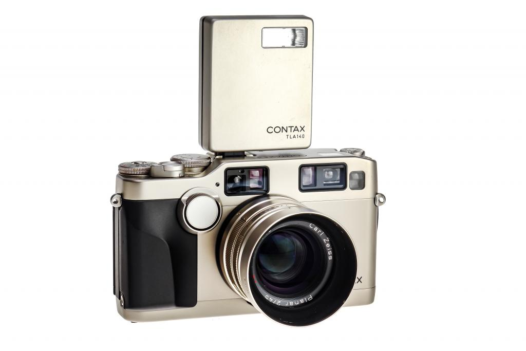 Contax G2 35mm Film Camera with the Contax TLA140 Flash Mounted On the Hot Shoe.