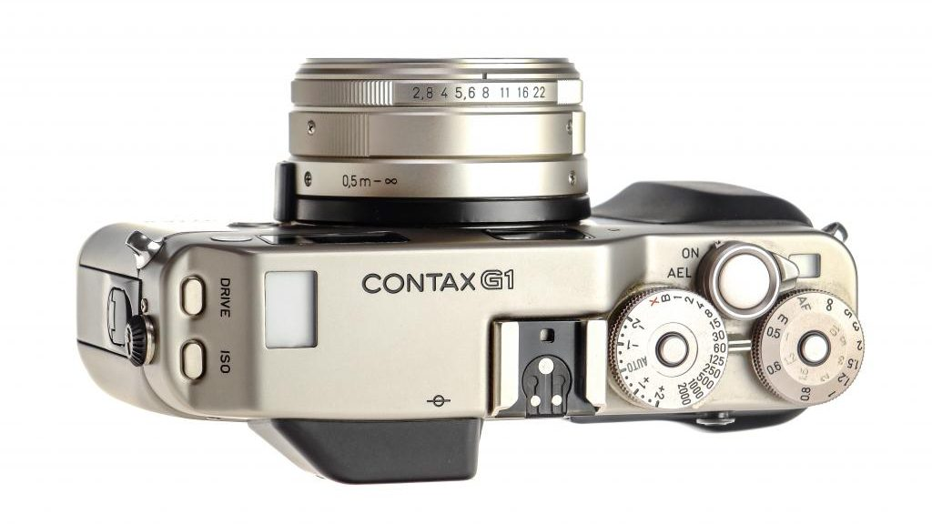 Top of the Contax G1 35mm Film Camera.