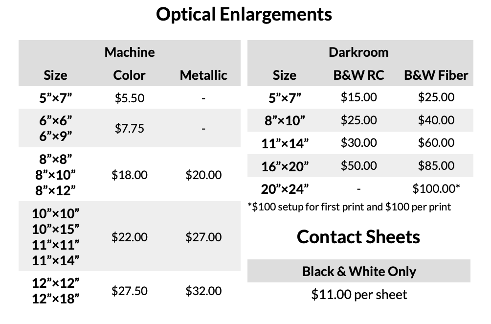 Optical Printing Prices for Enlargements From Film Negatives at Blue Moon Camera and Machine