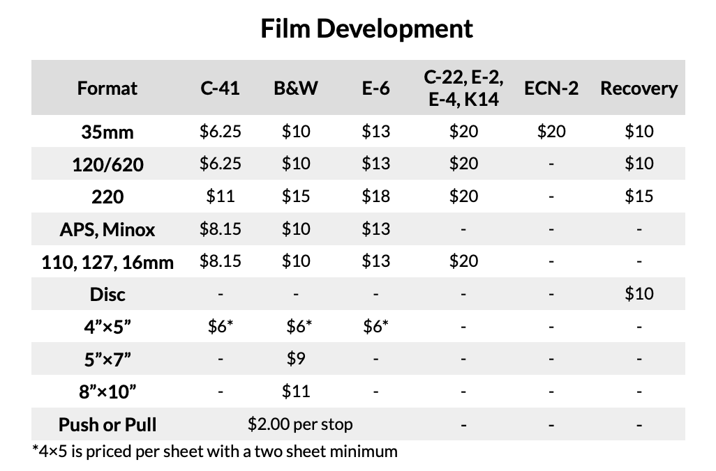 Film Development Prices at Blue Moon Camera and Machine