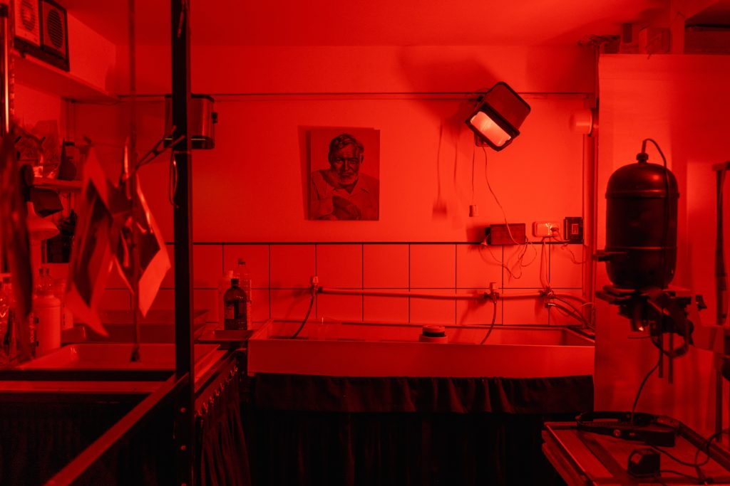 A Darkroom with a red safelight.