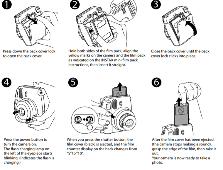 Steps to Load Pack Film into A Fujifilm Instax Mini 9 Instant Camera